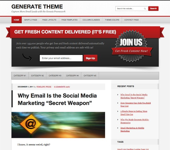 Generate Genesis wordpress Theme