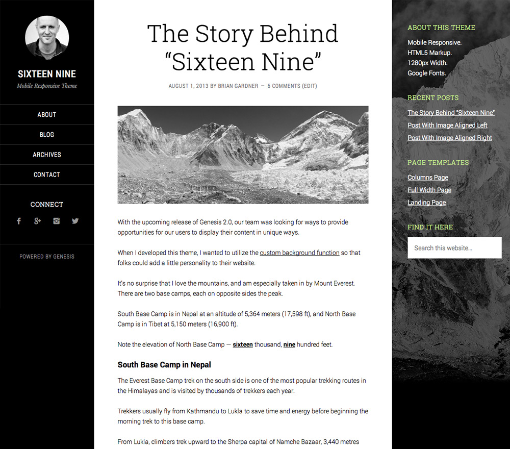 Sixteen Nine Genesis wordpress theme