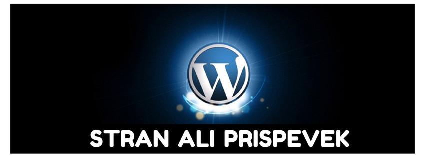Wordpress stran ali prispevek